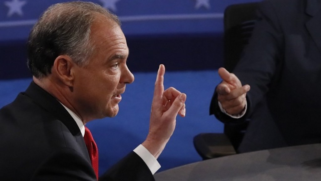 """That's what the Israeli joint chiefs of staff is saying right now. Gadi Eisenkot, you can go check it."" Democratic vice presidential candidate Tim Kaine debates Republican candidate for Vice President Mike Pence during vice presidential debate at Longwood University in Farmville, Virginia on October 4, 2016 (AFP photo pool / Andrew Gombert)"