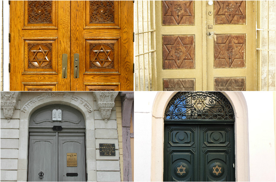 Synagogue doors, clockwise from top left (John Picken/Flickr, CC BY 2.0; zeevveez/Flickr, CC BY 2.0; Dimitris Kamaras/Flickr, CC BY 2.0; Renaud Camus/Flickr, CC BY 2.0)
