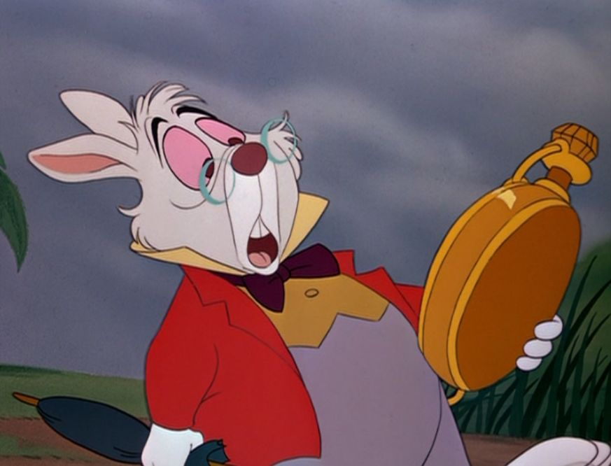 "The White Rabbit from ""Alice in Wonderland"" makes us feel the anxiety of time's passing"