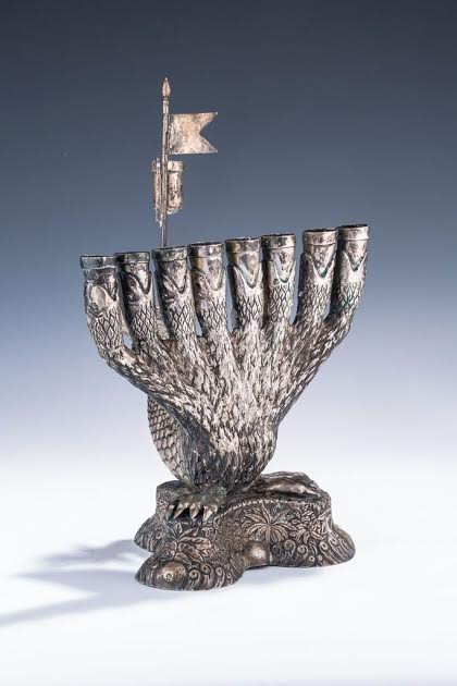 More Reasonable and Relatively Affordable $100,000 Menorah from Altenberg, Germany, Circa Early-to-Mid 1800s in the Shape of a Hydra. The Tail of the Hydra Forms the Holder for the Shames, the Heads Hold the 8 Candles and the Claws form the Base.