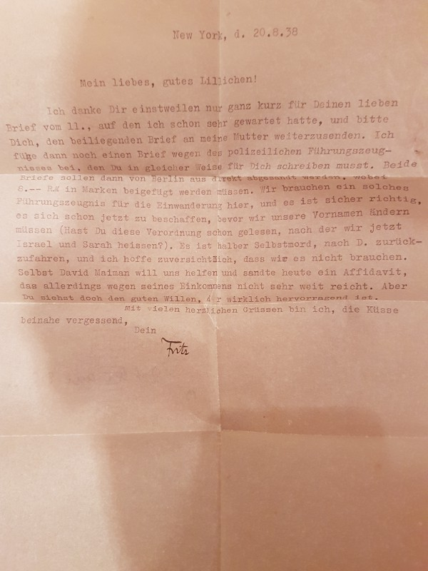 Letter sent from Fritz to Lilli regarding the urgency of their situation