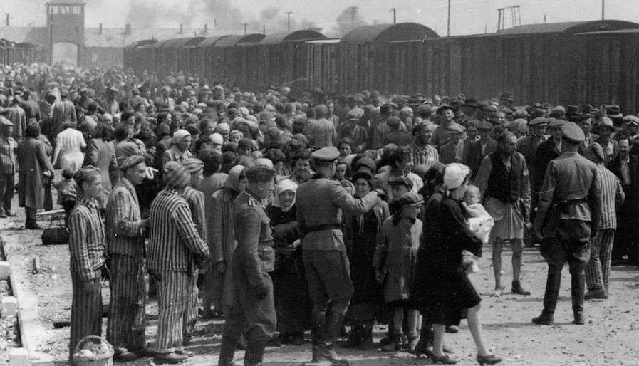 Hungarian Jews arriving at Auschwitz. (Courtesy)