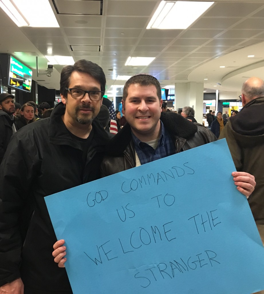 Rabbi Matthew Gewirtz and Rabbi Jesse Olitzky at Newark International Airport