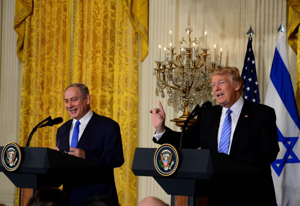 Israeli Prime Minister Benjamin Netanyahu, with US President Donald J. Trump in of the White House