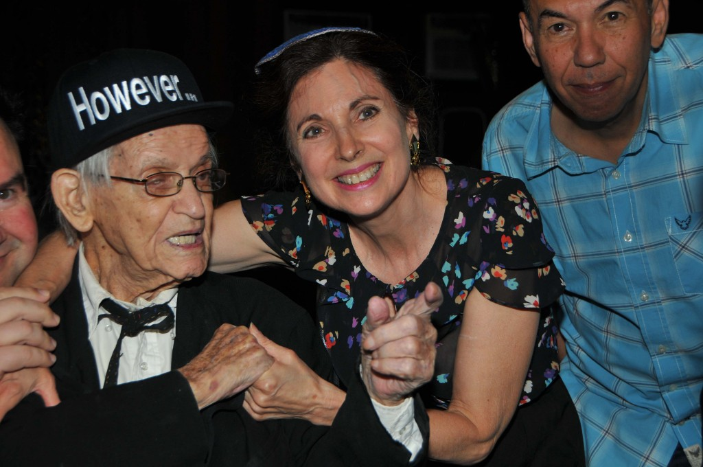Rabbi Jill Hausman and Gilbert Gottfried congratulates Irwin Corey on his centennial. Photo by Tim Boxer
