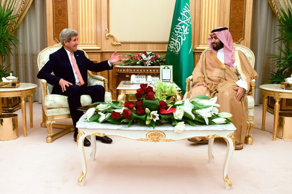 Former Secretary of State John Kerry meets With newly appointed Saudi Defence Minister Prince Mohammed in Riyadh