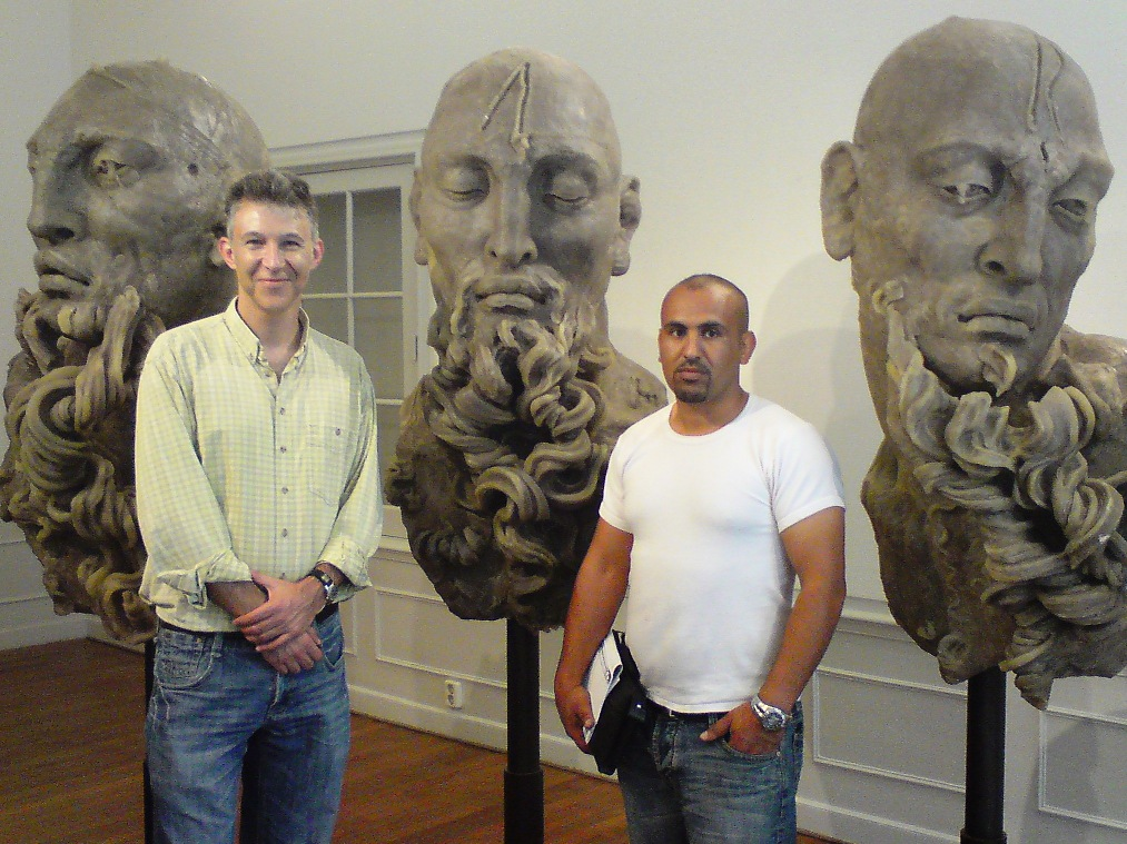 Ahmad & Daniel, with sculptures of Javier Marin, The Hague, 2009