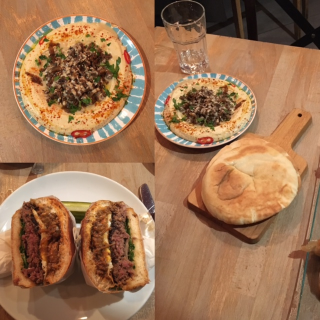 A selection from our dinner: Oriental Beef Hummus, and the Dirty Hybrid burger.