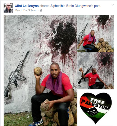 Clint Le Bruyns, a theologian from South Africa, shared this image on his Facebook page. The image valorizes rock throwing and violence. (Screenshot from Facebook.)