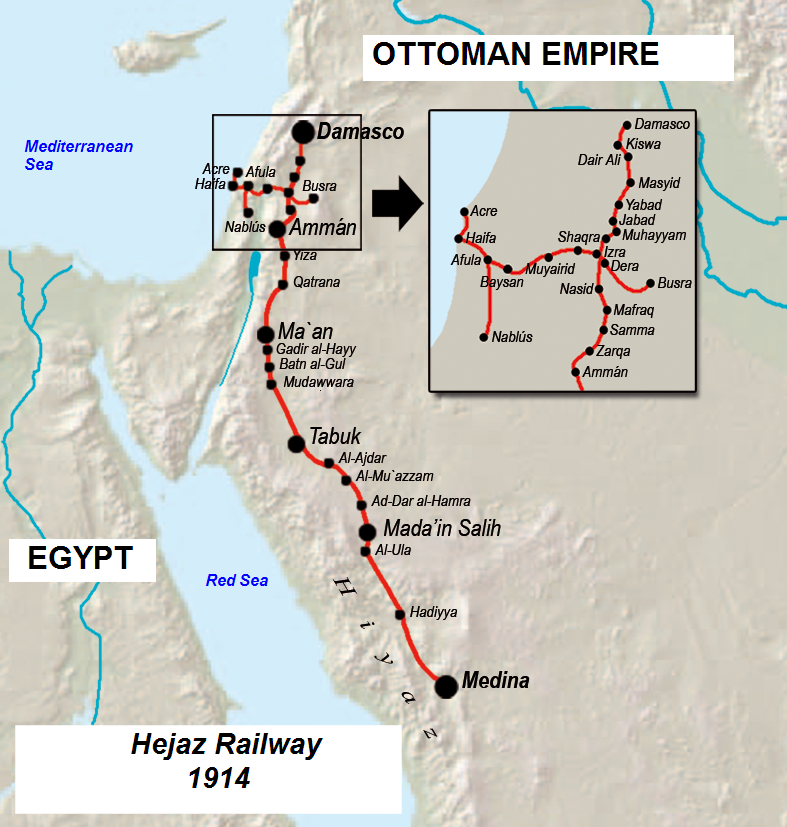 The Hejaz Railway in the Ottoman Empire 1914. Source: Wikimedia Commons