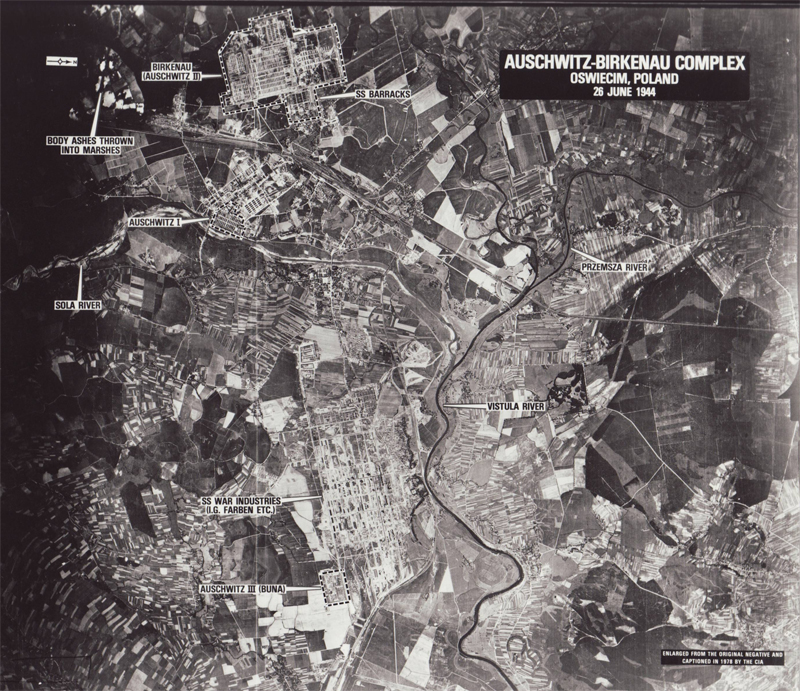 A labelled aerial photo of Auschwitz