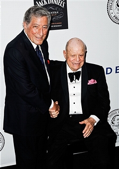 Tony Bennett honors Don Rickles at a Friars affair in 2013. Photo by Tim Boxer