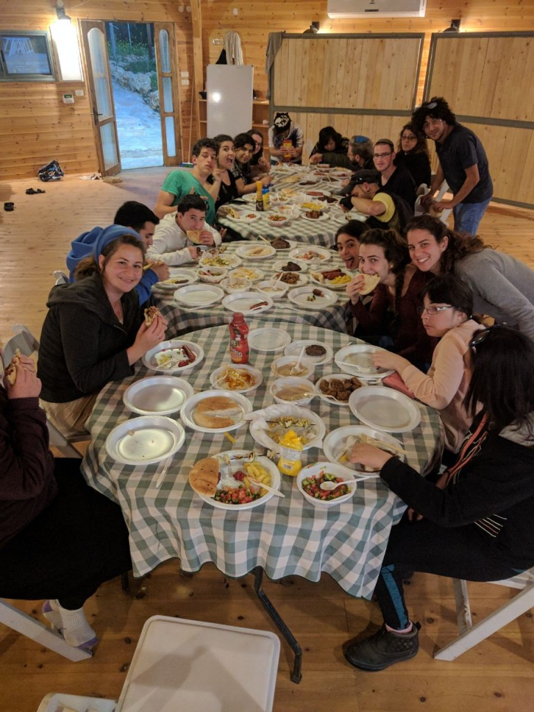 Shutaf Young People Sharing at Meal at Passover Camp 2017