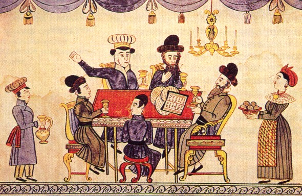 Jews Celebrating Passover, Lubok, 19th century. By Anonymous folk artist (photo credit: (http://tapirr.narod.ru/art/j/jud/tora_illustr.htm) Public domain, via Wikimedia Commons)