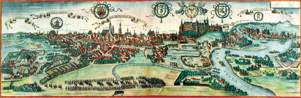 A general view of Krakow from the late 16th century. Wikipedia.
