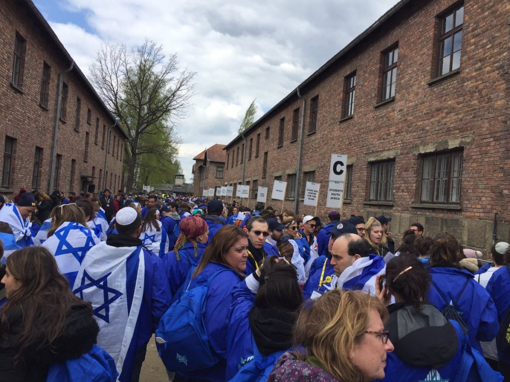Participants on March of the Living at Auschwitz