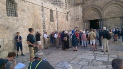 Christian Pilgrims at the Church of the Holy Sepulchre on Sunday (Peta Jones Pellach)
