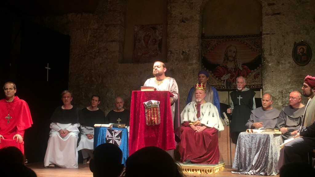 "Cast of ""Divine Right"" on stage at Kahn Theater in Jerusalem"