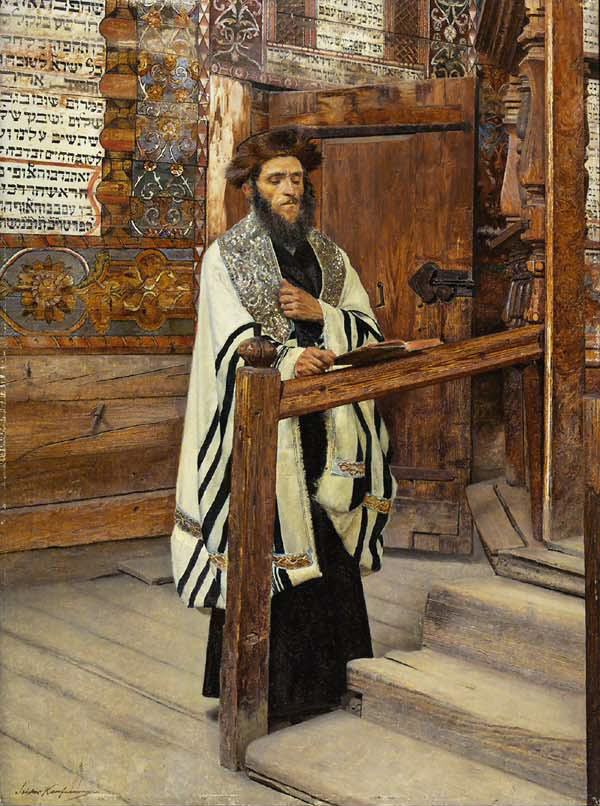 A rabbi reading in the forecourt of the synagogue (Wikimedia)
