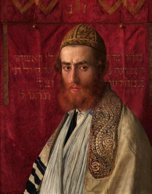 Portrait of a rabbi wearing a kittel and tallith (Wikimedia)