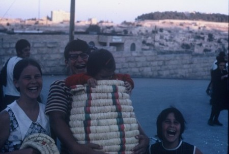 Sarah, Jonathan, Beth, and Jessica (in the basket), 1970, Israel.