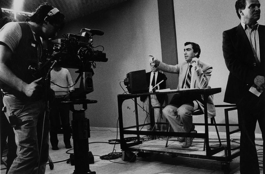 Nissim Mishal hosting a show on Israel's government-backed Channel 1 in 1984. (Moshe Shai/Flash90)