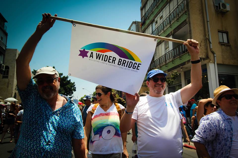 Delegates from A Wider Bridge at Tel Aviv Pride, 2017