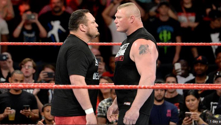 Brock Lesnar and Samoa Joe Face to Face Photo Credit: WWE.com