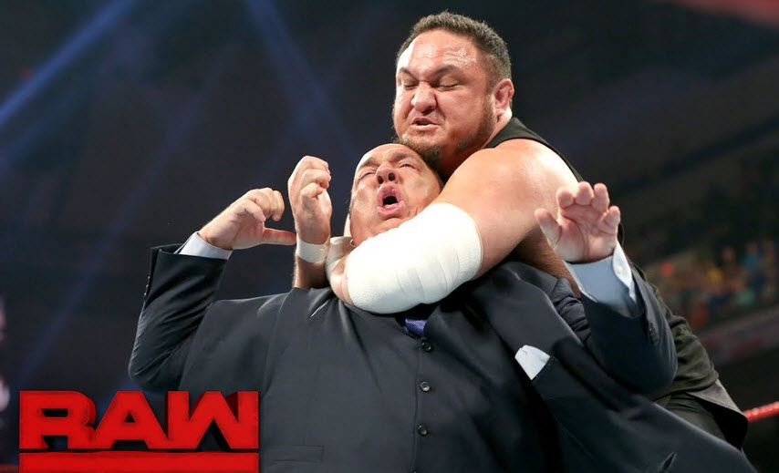 Samoa Joe choking Paul out with the Coquina Clutch Photo Credit: WWE.com
