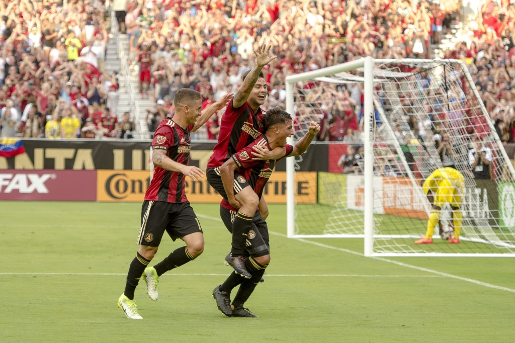 Tito Villalba celebrates scoring the first goal the match against Columbus Crew FC on Sunday, June 18