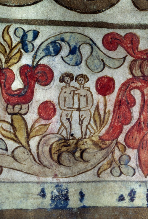 Adam and Eve depicted on a 19th-century ketubah, a Jewish marriage contract, from the Norsa-Torrazzo Synagogue in Mantua, Italy. (DeAgostini/Getty Images)