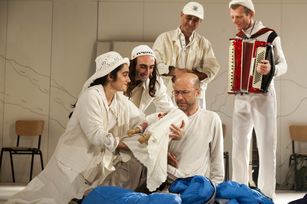 """Members of the Habima National Theatre and the Cameri Theatre of Tel Aviv appearing in an adaptation of David Grossman's novel """"To the End of the Land,"""" as part of the Lincoln Center Festival in New York, July 24-27, 2017. (Gérard Allon)"""