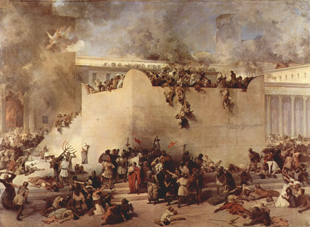 The destruction of the Temple of Jerusalem by Francesco Hayez [Public domain], via Wikimedia Commons