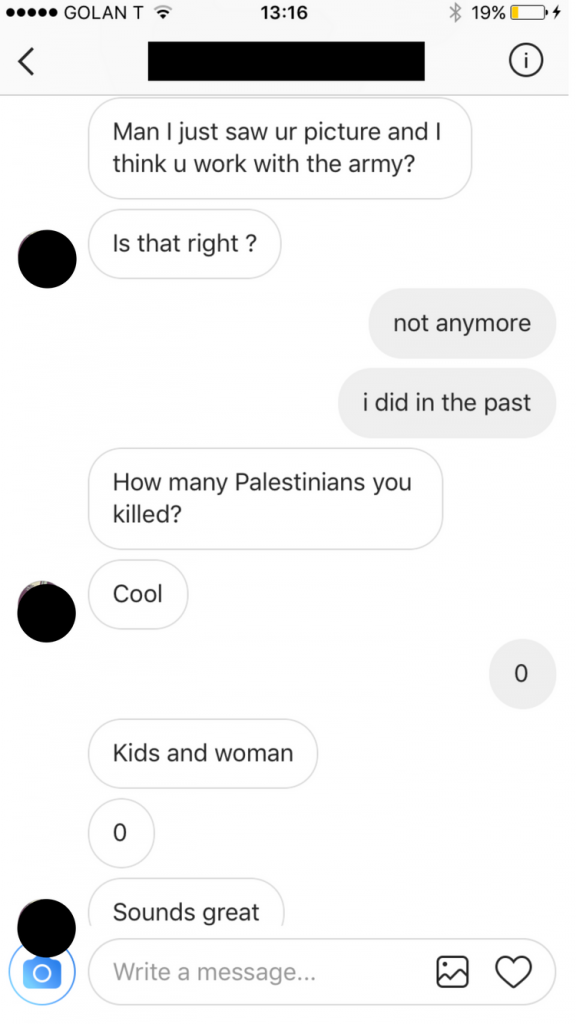 A Palestinian-Jordanian asking (seriously) how many Palestinians I've killed.