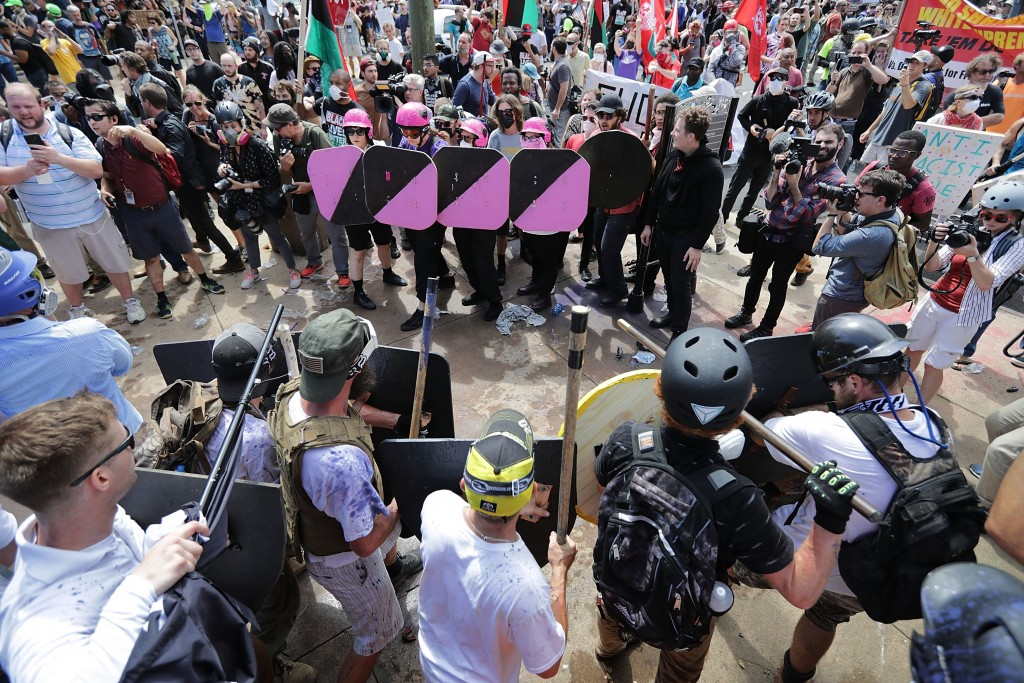 """The scene at the entrance to Emancipation Park during the """"Unite the Right"""" rally in Charlottesville, VA, August 12, 2017. (Chip Somodevilla/ Getty Images)"""