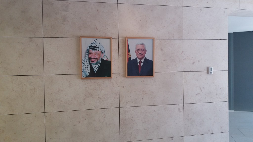 Palestinian presidents past and present: Yassir Arafat and Mahmoud Abbas