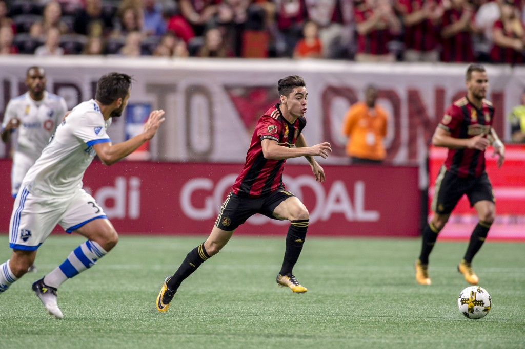 Miguel Almirón will be out a minimum of three weeks due to a hamstring injury he suffered during Sunday's Atlanta United vs. Montreal Impact match.
