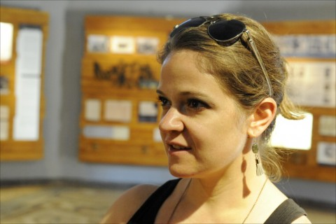 Baltimore art therapist Elizabeth Hlavek, whose doctoral thesis focuses on art created clandestinely during the Holocaust, visits Israel's Bet Terezin. Photo: Larry Luxner