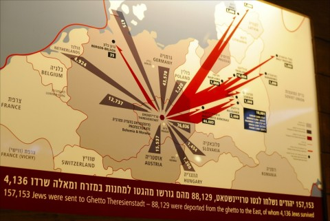 A detailed map on display at Israel's Beit Terezin shows from which countries European Jews were sent to Czechoslovakia's Theresienstadt Ghetto, where they were deported to later, and how few survived the Holocaust. Photo: Larry Luxner