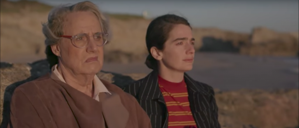 "A scene from the fourth season of ""Transparent"" featuring Jeffrey Tambor, left, and Gabi Hoffmann in Israel. (Screenshot from YouTube)"