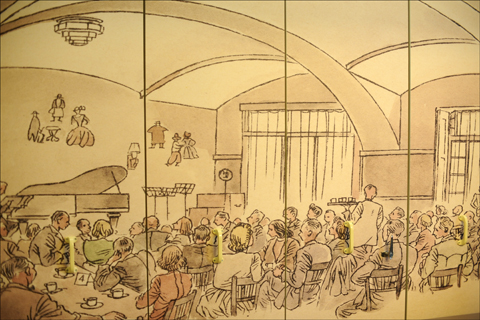"""Coffee house,"" a 1944 sketch by Dutch artist Josef Spier — who was interned at the Theresienstadt Ghetto — is on prominent display at Beit Terezin. Photo: Larry Luxner"