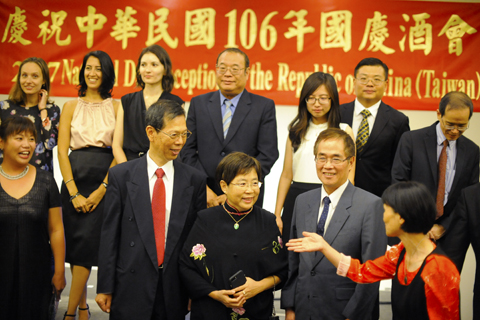 Taiwanese dignitaries gather for a group photo during an Oct. 2 reception at the Sheraton Tel Aviv to mark their country's 106th anniversary of independence. Photo: Larry Luxner