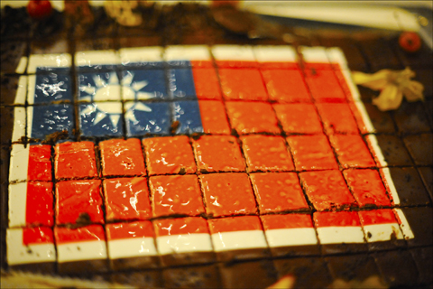 Cake decorated in the colors of the Taiwanese flag at the Sheraton Tel Aviv to mark Taiwan Independence Day. Photo: Larry Luxner
