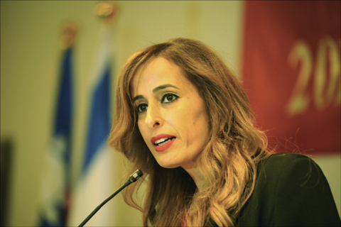 Nava Boker, deputy speaker of Israel's Knesset, speaks Oct. 2 during a reception at the Sheraton Tel Aviv to mark Taiwan Independence Day. Photo: Larry Luxner