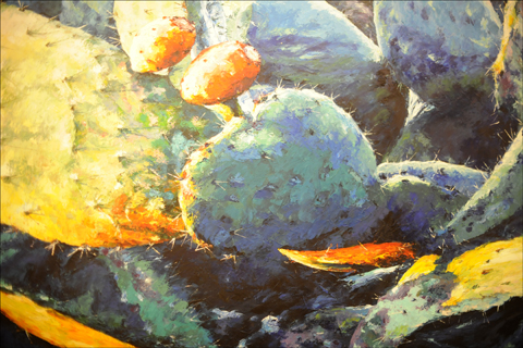 This cactus painting was one of many by Taiwanese-Israeli artist Ben Wang display at Taiwan's Oct. 2 Independence Day party at the Sheraton Tel Aviv. Photo: Larry Luxner