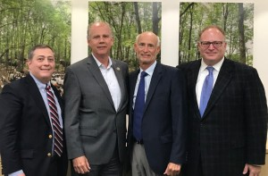 From left, the Foundation of Jewish Camp's Jeremy Fingerman, Congressman Daniel Donovan, (R-11th Dist.), FJC board chair Peter J. Weidhorn of Tenafly, and FJC board member Scott Brody, who chairs the American Camp Association Government Affairs Committee