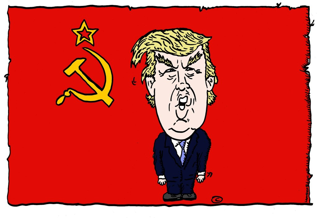 political cartoon of u.s. president donald j trump in front of a red communist flag