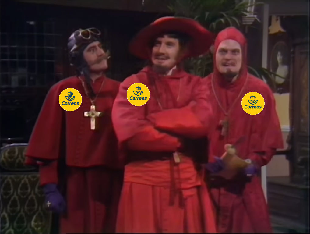 screenshot from the Monty Python Spanish Inquisition routine with Correos badges badly Photoshopped on