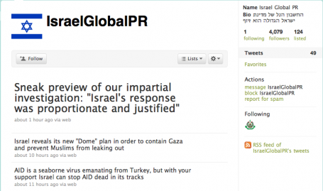 IsraelGlobalPR is a satirical Twitter feed critical of Israel