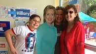 The author with her daughter and sister-in-law at her local Clinton campaign office. Courtesy of Gabrielle Kaplan-Mayer